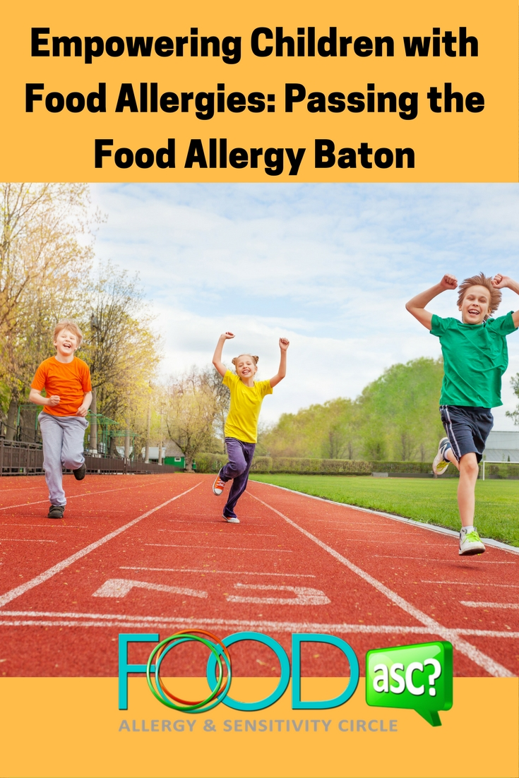 Wondering how to help your children navigate the world with food allergies?  Here are 3 E's to assist you in helping to EMPOWER your children and pass that food allergy baton a little more smoothly! via FoodASC