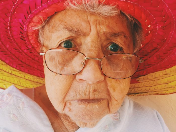 Picture of a grandmother in a hat